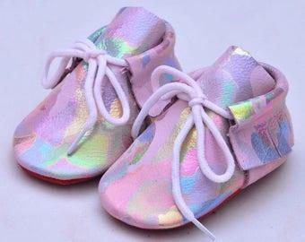 Mermaid Pram Shoes - Leather pre-walkers - baby booties