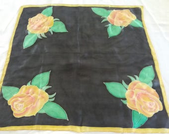 Roses, hand painted silk scarf