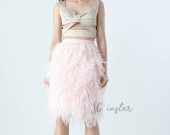 Evelyn ostrich feathers skirt