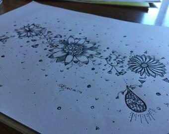 Hand Drawn flower art