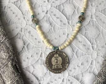 Beaded Sri Lanka Coin Pendant Necklace
