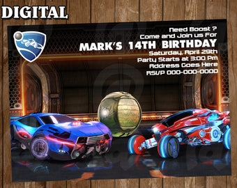 Rocket League Digital Party Invitation Custom Personalized Printable