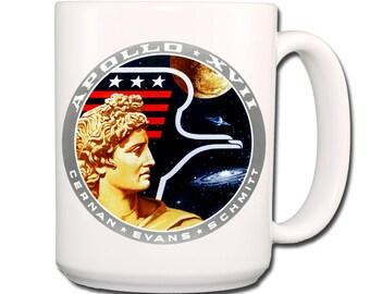 Apollo 17 Moon Landing NASA Logo Extra Large Coffee Mug 15 oz