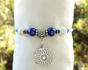 Valentine's day: bracelet ceramics, blue and white, romantic, fashion for women, gift for her, mature gift, unique jewel