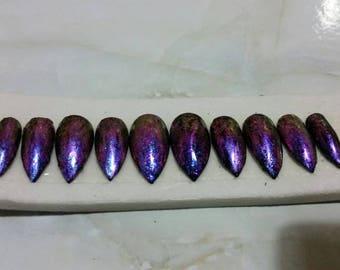 Chameleon beetle press on nails