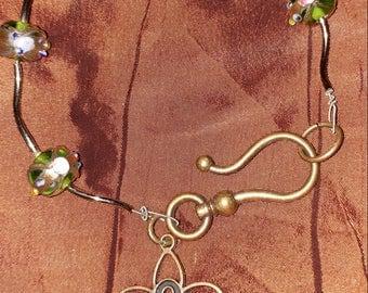 Copper Beaded Cancer Awareness Fleur de Lis Bracelet
