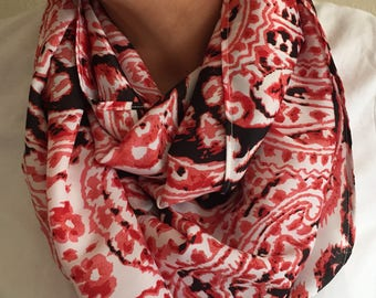 Red Accent Infinity Scarf