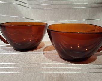 Vintage Vereco Brown Caramel Glass Square Teacups Set of 3