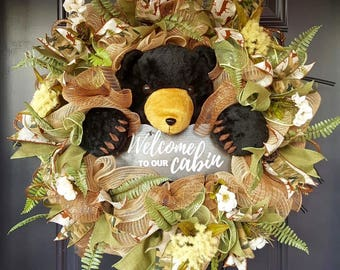 Welcome to our cabin bear wreath