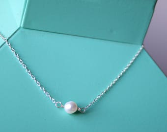 Bridesmaid pearl necklace set of 6, bridesmaid gift, will you be my bridesmaid, bridal jewelry, Danity pearl necklace, gifts for her, set
