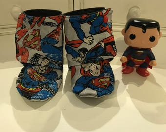Superman Baby Booties- Size 18-24 months