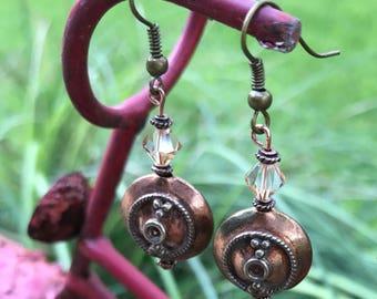 Copper Focal Bead Earrings