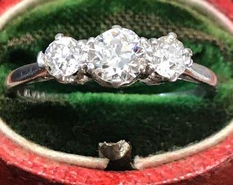 Art Deco three-stone diamond and platinum ring, circa 1930