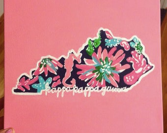 Sorority State Lilly Pulitzer Inspired Canvas