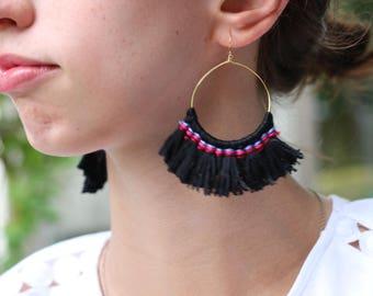 Tassel Hoop Earrings, Black Tassel Hoop Earrings, Black Fringe Earrings, Boho Earrings, Statement Earrings, Gift For Her