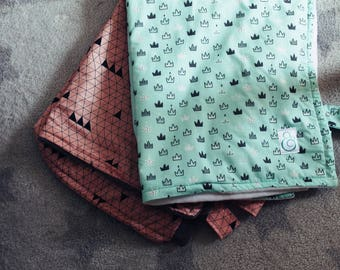 Baby Buggy Blanket - Turquoise Crowns