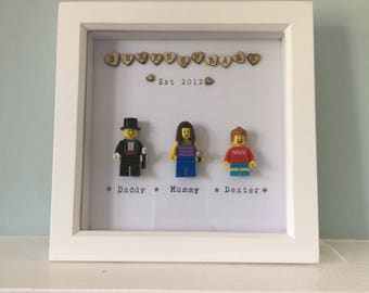 Hand made, personalised LEGO family picture in wooden frame - various characters