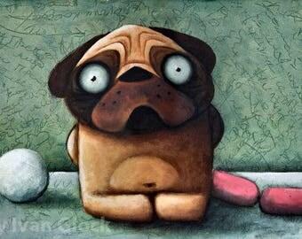 pug with sausage, Dog Drawing, Cute Dog, Dog cartoon, Cute Pug, Pug Illustration, Pug Print