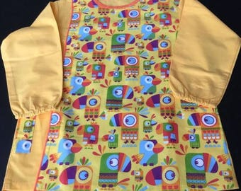 "School apron - girls yellow apron ""toucans"" with snap buttons and pockets"