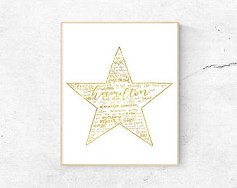 Hamilton Musical Silhouette Print   Hand-Lettered   Gold   Digital Download