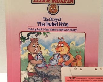 "Teddy Ruxpin, ""The Story of The Faded Fobs"" with cassette tape."