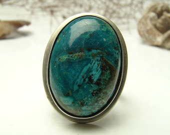Chrysocolla Ring, Sterling Silver 925,Oxidised,Handmade,Coctail Ring,Statement Rings