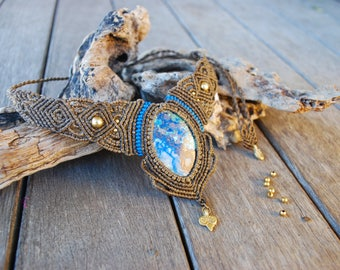 Azurite Macrame Necklace, Bohemian/Gypsy/Bellydance
