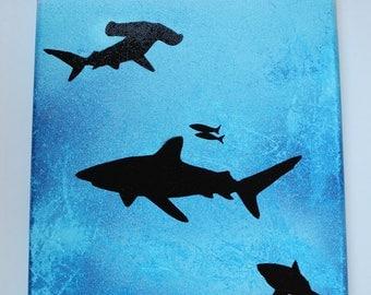 Sharks Hammerhead Shark Great white shark painting spray painted canvas art