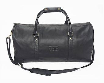 TOC Globetrotter Leather Holdall - Black