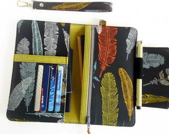 Passport Holder for 1-4 Passports, Family Travel Wallet, Family Passport Wallet in Feather Print, Passport Organizer - Made To Order