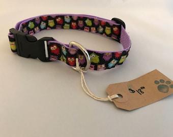 Dog Collar, Owl Dog Collar, Ribbon Dog Collar, Large Dog Collar