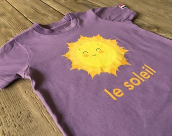 le soleil t-shirt for toddlers and kids by francophonic.  Organic Cotton.  Made in the USA.  Sizes 2, 4, 6, and 8.