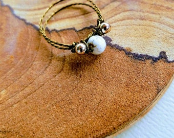 Beaded Gold & Marble Wire Wrapped Ring