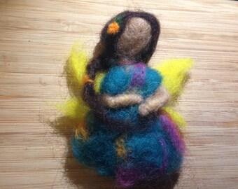Blue felted fairy