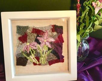 Daisy Silk Velvet Flowers on Crazy Patchwork Tweed, Textile Art