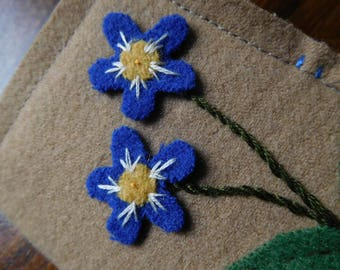 felted wool flowers needle book needle case