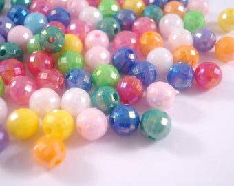 Faceted Round Beads 6mm x 300 - Iridescent Colour Mix