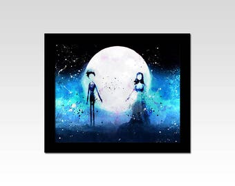 Corpse Bride inspired watercolour effect print
