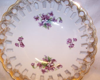 Bowl, Royal Sealy China, Japan, Violets, Cut Outs, Vintage