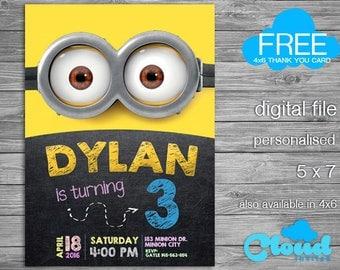 Minion Birthday Invitation, Minions, Minion Invitation, Minion Party, Birthday Printables