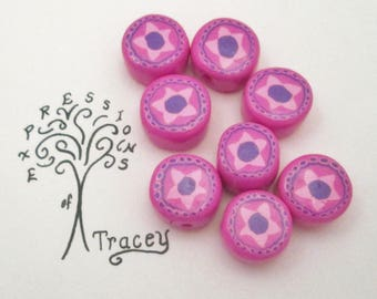 Pink star disc beads, polymer clay beads, handmade beads