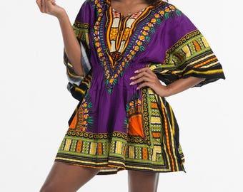 African dashiki shirt, elastic waist, purple