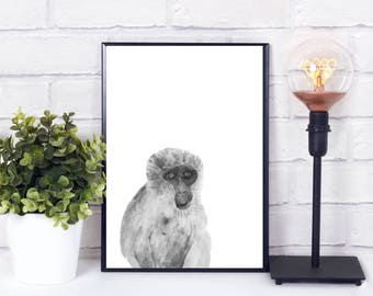 Monkey nursery decal, monkey nursery decal , monkey nursery art, monkey nursery wall decal, monkey nursery print, Nursery animal wall decal