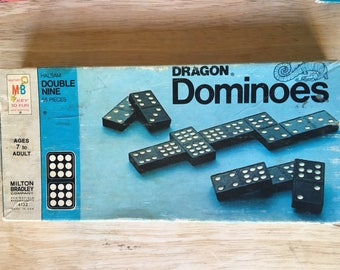 Vintage  1970 Dragon Double Nine Dominoes Set