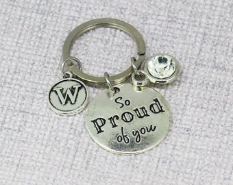 So proud of you, Congratulations, Well done, New Driver, Graduation Gift, Congratulations, Grad Gift, College Student, Silver Keychain
