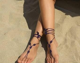 Barefoot Sandals Crochet lurex purple crochet barefoot Sandals