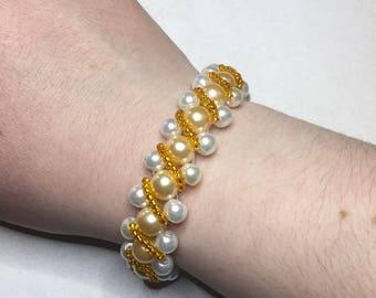 Bright and Fun Orange Embellished Beaded Bracelet