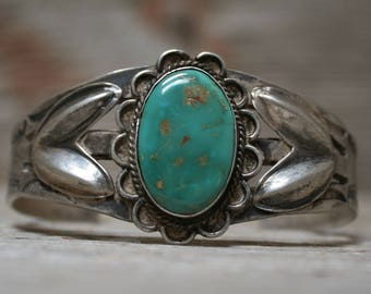 Outstanding Early Navajo Native American Turquoise Sterling Silver Bracelet