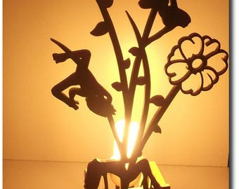 Bedside lamp made of wood for female figure
