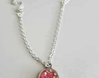 10mm druzy pendent necklace on an 18 inch silver chain